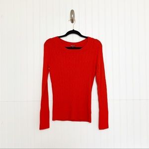 Merona Size M Red Cable Knit Pullover Sweater